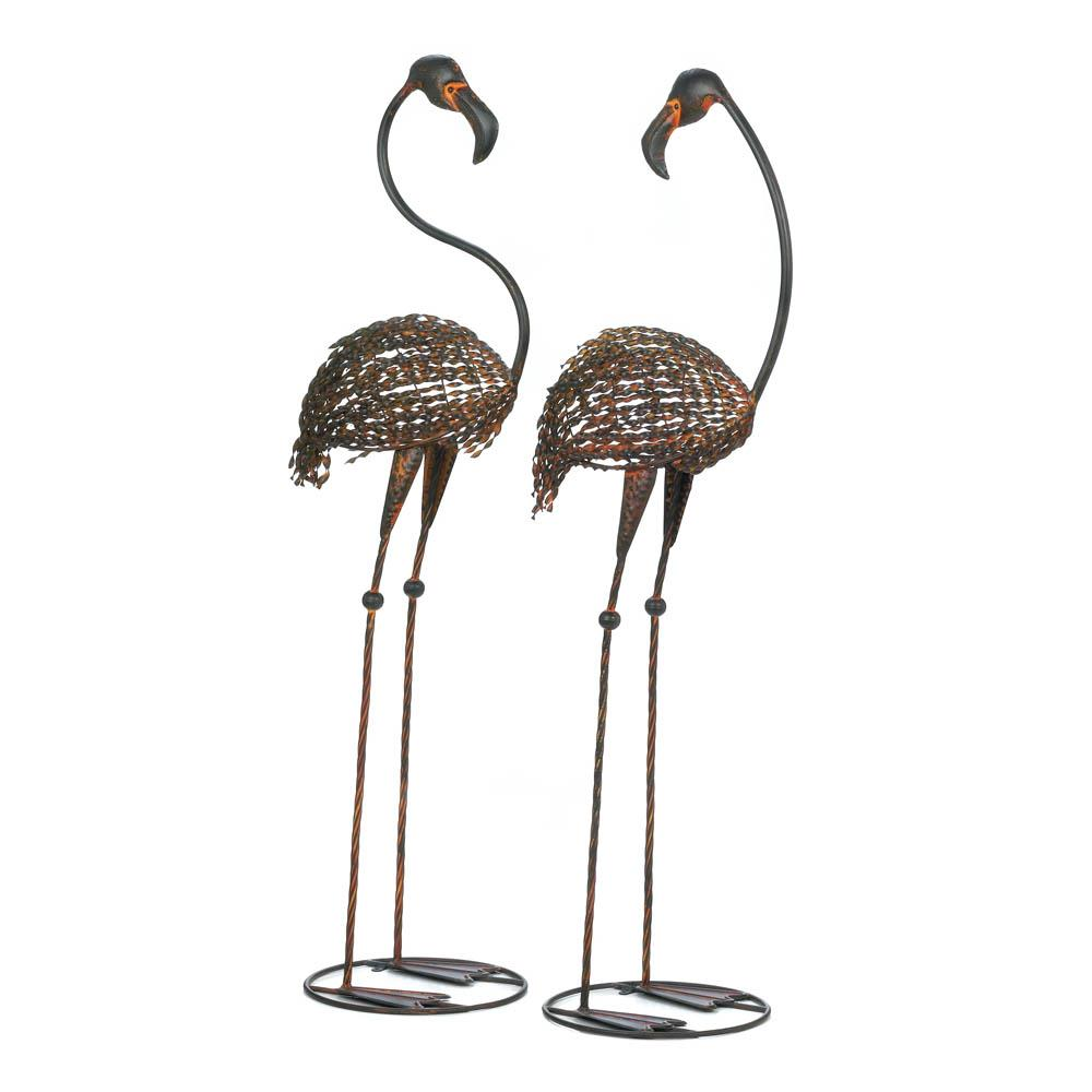 flamingo motif! we have flamingo motif garden decor, like metal
